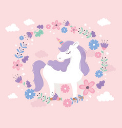 Unicorn standing cartoon wreath flowers fantasy vector
