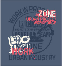 urban project work force excavator vector image