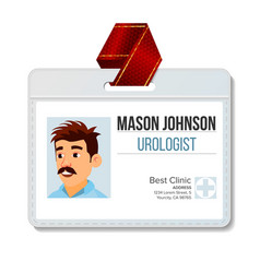 Urologist identification badge man name vector