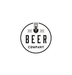 vintage retro beer wheat malt brewery brewing logo vector image