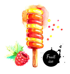 watercolor hand drawn fruit ice cream painted vector image