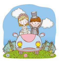 Wedding couple on car cute cartoon vector
