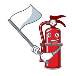 With flag fire extinguisher mascot cartoon vector