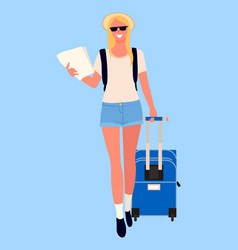woman with map or travel document and luggage vector image