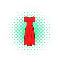 Womens red dress icon comics style vector