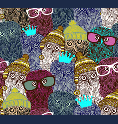 Wonderful owls in seamless pattern art vector