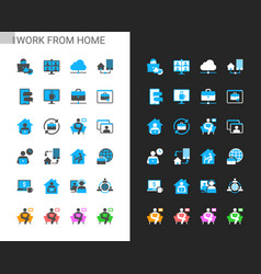 work from home icons light and dark theme vector image