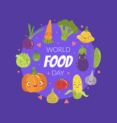 world food day banner template with cute cheerful vector image