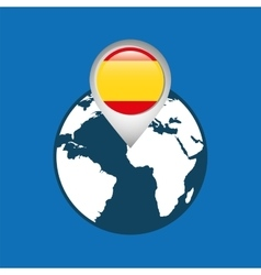 World map with pointer flag spain vector