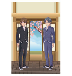 young male students anime vector image