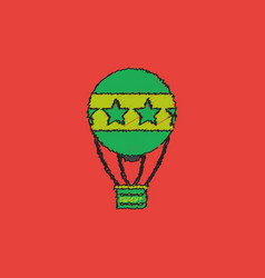 Circus watercolor hot air balloon in hatching vector