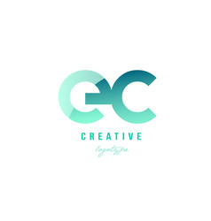 Green gradient pastel modern ec e c alphabet vector