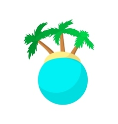 Island with palm trees icon cartoon style vector image