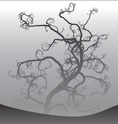 Scary tree in fog 2 vector image vector image