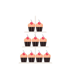 sweet dessert delicious cute cupcakes set isolated vector image