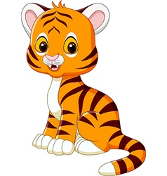 Cute baby tiger sitting isolated vector