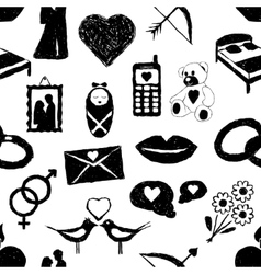 doodle love seamless pattern vector image