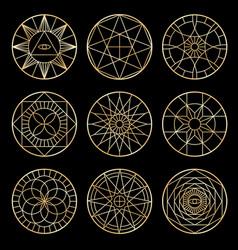 esoteric geometric pentagrams spiritual sacred vector image