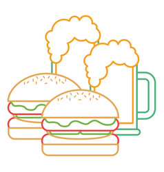 hamburgers and beers glass food tasty vector image