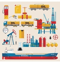 Oil Industry Decorative Icons Set vector image