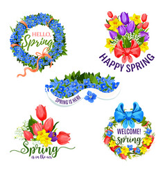 spring flowers icons for holiday greeting vector image