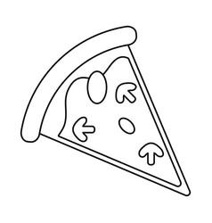 tasty pizza slice thin line vector image