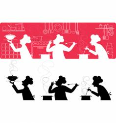 cooks in the kitchen vector image vector image