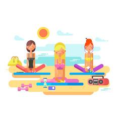 girls practicing yoga vector image vector image