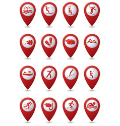 Set 16 sport red pointer vector image