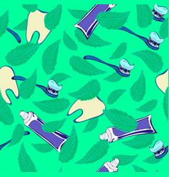 teeth mint paste and brush stamless pattern vector image