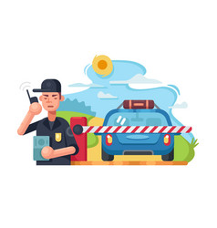 traffic police checkpoint vector image