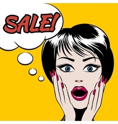 Comics style woman with SALE bubble vector image