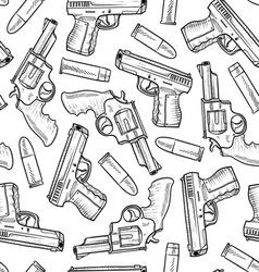 doodle guns pattern seamless vector image vector image