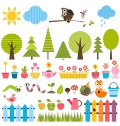 Garden elements set vector image vector image