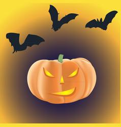Halloween pumpkin with burning eyes on a dark vector