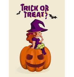 Halloween with witch on pumpkin lantern vector image vector image