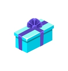 Light blue with dark blue bow gift box with vector