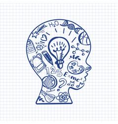 pen drawn schoolboy face with lamp vector image