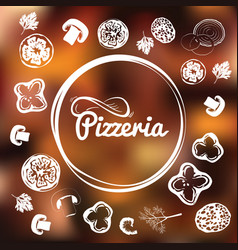 pizzeria identity concept chalkboard toppings as vector image vector image