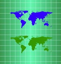 Silhouette eco globe map material design vector image