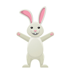 smiling white bunny with stretched paws isolated vector image