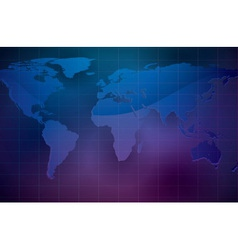 world map on dark color background vector image vector image