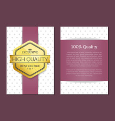 100 quality best award golden offer premium label vector image