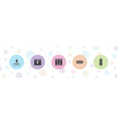 5 battery icons vector