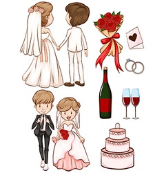 A simple sketch a wedding vector