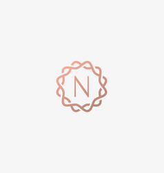 Abstract linear monogram letter n logo icon design vector