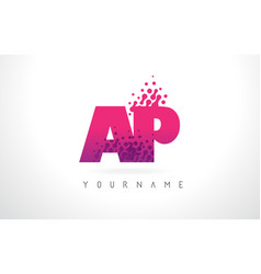 Ap a p letter logo with pink purple color vector