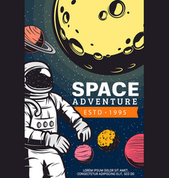Astronaut in outer space retro banner vector