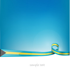 bahamas ribbon flag on blue sky vector image