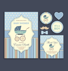 Bashower boy invitation card vector